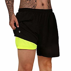 men's 2 in 1 workout running shorts 7 quick dry lightweight with zipper pocket short pants for training athletic gym