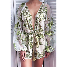 Women's Shift Dress Short Mini Dress - Long Sleeve Solid Color Sequins Embroidered Summer V Neck Sexy Party Slim 2020 Black Gold Green S M L XL