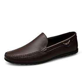Men's Loafers  Slip-Ons Casual Daily Leather Wear Proof Dark Brown / Black / Khaki Spring / Fall