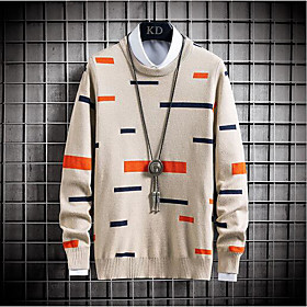 Men's Color Block Pullover Long Sleeve Sweater Cardigans Crew Neck Fall Winter Black Khaki Light gray