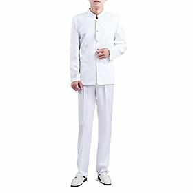 chinese traditional cheongsam style mandarin collar menamp; #39;s suit blazer long sleeve vintage casual slim fit pants coat set amp; #40;mandarin suit set whi