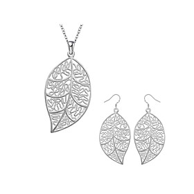 Women's Jewelry Set Bridal Jewelry Sets Cut Out Leaf Fashion Silver Plated Earrings Jewelry Silver For Christmas Wedding Halloween Party Evening Gift 1 set Gender:Women's; Quantity:1 set; Theme:Leaf; Shape:Geometric; Style:Fashion; Jewelry Type:Jewelry Set,Bridal Jewelry Sets; Occasion:Halloween,Gift,Christmas,Wedding,Party Evening; Material:Copper,Silver Plated; Design:Cut Out; Brand:Lucky Doll; Shipping Weight:0.015; Listing Date:10/25/2020