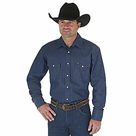 men's authentic cowboy cut work western long-sleeve firm finish shirt,blue,14 1/2 33