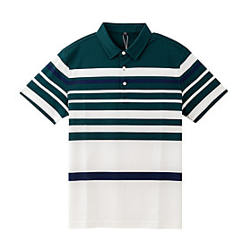 Men's 1 Piece Golf Polo Shirts Color Block Stripes UV Sun Protection Breathable Quick Dry Autumn / Fall Spring Summer Sports Outdoor / Cotton / Short Sleeve /