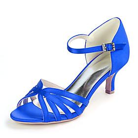 Women's Wedding Shoes Kitten Heel Open Toe Minimalism Wedding Party  Evening Buckle Solid Colored Satin White / Black / Purple