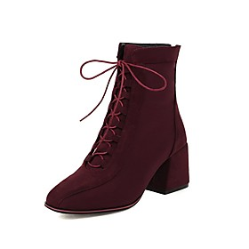 Women's Boots Block Heel Square Toe Vintage Preppy Daily Party  Evening Lace-up Solid Colored Synthetics Booties / Ankle Boots Wine / Black / Brown