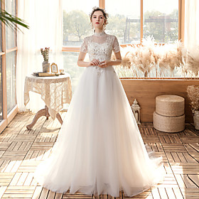 A-Line Wedding Dresses High Neck Sweep / Brush Train Lace Tulle Short Sleeve Formal Elegant with Appliques 2020