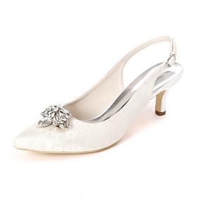 Women's Wedding Shoes Kitten Heel Pointed Toe Sweet Wedding Party  Evening Rhinestone Floral Lace White / Light Purple / Ivory