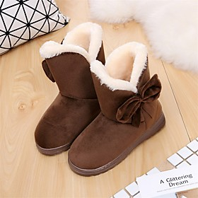 Women's Boots Flat Heel Round Toe Casual Daily Satin Flower Solid Colored Nubuck Booties / Ankle Boots Black / Brown / Beige