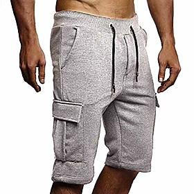 athletic mens cargo shorts gym workout elastic waist cotton sweat shorts sweatpants shorts with pockets grey