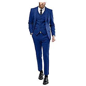 butamp; #39;s 3 pieces formal suit notch lapel tweed blend blazer vest separate pants amp; #40;royal blue,54ramp; #41;