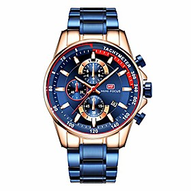 men's luxury quartz watches stainless steel strap chronograph waterproof business wristwatch man blue