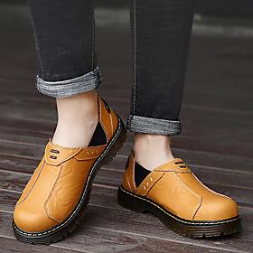 Men's Loafers  Slip-Ons Business / Casual / British Daily Office  Career Walking Shoes Cowhide Breathable Shock Absorbing Wear Proof Dark Brown / Black / Brown