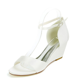 Women's Wedding Shoes Wedge Heel Open Toe Sweet Wedding Party  Evening Solid Colored Satin White / Black / Purple