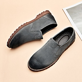 Men's Loafers  Slip-Ons Casual Daily Walking Shoes Pigskin Breathable Non-slipping Wear Proof Black / Army Green / Brown Fall