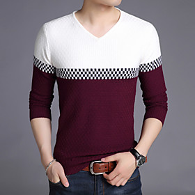 Men's Wedding Christmas Glitter Stripe Embroidery Striped Color Block Camouflage Cardigan Pullover Sweater Long Sleeve Sweater Cardigans V Neck Fall Winter Red