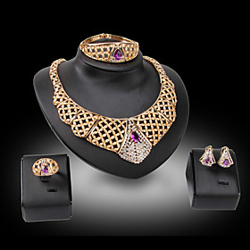 Women's Jewelry Set Bridal Jewelry Sets Geometrical Precious Fashion Gold Plated Earrings Jewelry Purple For Christmas Wedding Halloween Party Evening Gift 1 s Gender:Women's; Quantity:1 set; Theme:Precious; Shape:Geometric; Style:Fashion; Jewelry Type:Jewelry Set,Bridal Jewelry Sets; Occasion:Halloween,Gift,Christmas,Wedding,Party Evening; Material:Alloy,Glass,Gold Plated,Rhinestone; Design:Geometrical; Brand:Lucky Doll; Shipping Weight:0.11; Listing Date:10/25/2020