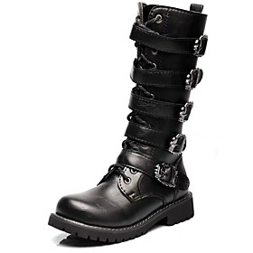 Men's Boots Casual / Vintage / British Daily Party  Evening Synthetics Warm Non-slipping Wear Proof Knee High Boots Black Fall / Winter