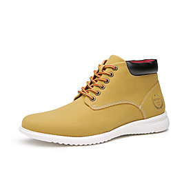 Men's Boots Work Boots Casual Daily Microfiber Waterproof Lightweight Non-slipping Booties / Ankle Boots Yellow Fall