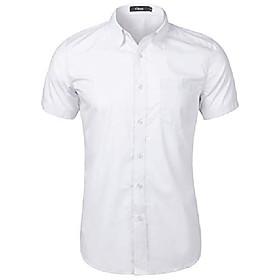 men's casual short sleeve button down shirt collar dress shirt white