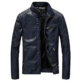 butamp; #39;s casual zip up slim bomber faux leather jacket amp; #40;x-large, yh-fleece-dark blueamp; #41;
