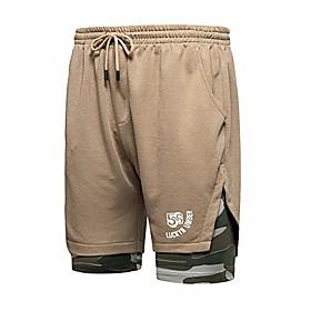 men's 2-in-1 athletic shorts workout training exercise gym short pants 37khaki-2xl