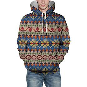 Men's Christmas Pullover Hoodie Sweatshirt Color Block 3D Graphic Christmas Hoodies Sweatshirts  Light Blue