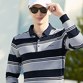 Men's 1 Piece Golf Polo Shirts Color Block Stripes UV Sun Protection Breathable Quick Dry Autumn / Fall Spring Winter Sports Outdoor / Cotton / Long Sleeve / S