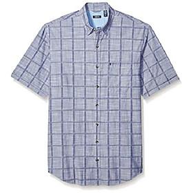 men's big saltwater short sleeve windowpane button down shirt, twilight blue, 4x-large tall
