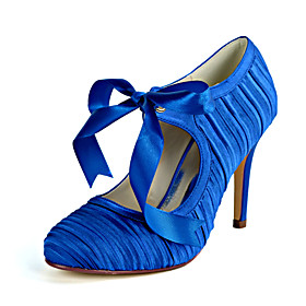 Women's Wedding Shoes Stiletto Heel Round Toe Sweet Wedding Party  Evening Ribbon Tie Solid Colored Satin White / Champagne / Royal Blue