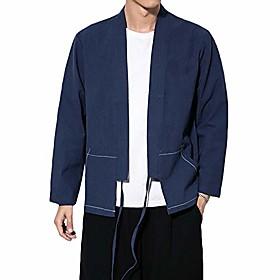 fashion men's cotton blends linen cloak open front cardigan kimono jackets (navy, s)