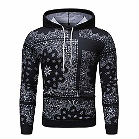 men hooded sweatshirt casual slim fit printed long sleeve pullover hoodie sweatshirt top blouse black
