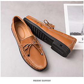 Men's Loafers  Slip-Ons Casual Daily Walking Shoes Nappa Leather Breathable Non-slipping Wear Proof Black / Brown Fall