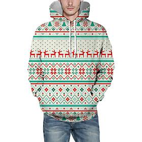Men's Christmas Pullover Hoodie Sweatshirt Lines / Waves 3D Graphic Christmas Hoodies Sweatshirts  White