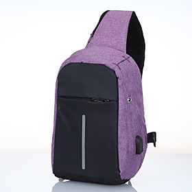 Men's Bags Canvas Sling Shoulder Bag Pattern / Print Zipper for Daily / Outdoor Black / Blue / Purple / Gray