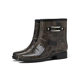 Men's Boots Daily PVC Waterproof Non-slipping Wear Proof Black / Brown Spring / Fall
