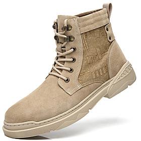 Men's Boots British Daily Canvas / Pigskin Light Yellow / Dark Brown Fall / Winter