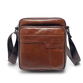 Men's Bags Cowhide Crossbody Bag Zipper for Daily Dark Brown / Black / Brown