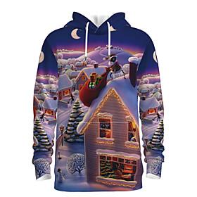 Men's Christmas Pullover Hoodie Sweatshirt 3D Graphic Scenery Hooded Christmas Hoodies Sweatshirts  Long Sleeve Purple
