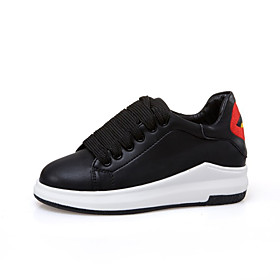 Women's Sneakers Wedge Heel Round Toe Casual Basic Daily PU Walking Shoes Black / Red / White / Black