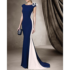Mermaid / Trumpet Beautiful Back Sexy Engagement Formal Evening Dress Boat Neck Sleeveless Court Train Spandex with Sleek 2020