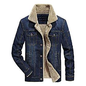 men's button up vintage sherpa fleece lined denim biker jacket jean coat (dark blue fleece02, xxl)