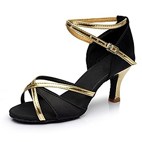 popular latin/ballroom/tango dance shoes for women girls ladies practice shoes satinamp;pu high heel (7.5 us / 24cm / cn38, black 7cm heel) Listing Date:10/29/2020