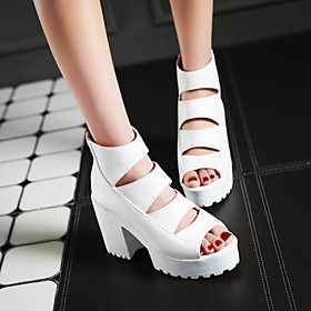 Women's Sandals Chunky Heel Peep Toe Sexy Sweet Preppy Daily Party  Evening Solid Colored PU White / Black