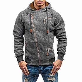 men's long sleeve zipper hoodies pullover sweatshirt cotton coat outwear(dark gray,l)