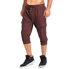 men's 3/4 shorts workout jogger gym running exercise short pants with pockets wine red