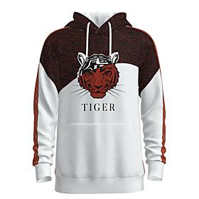 Men's Weekend Pullover Hoodie Sweatshirt Graphic Animal Chinese Style Hooded Casual Streetwear Hoodies Sweatshirts  Long Sleeve White