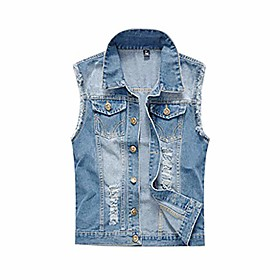 butamp; #39;s motorcycle denim sleeveless jacket slim fit punk denim vest sleeveless jeans vest jacket with rivets outwear coat