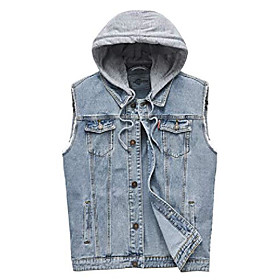 butamp; #39;s casual button-down denim vest trucker jean jacket with hoodie white
