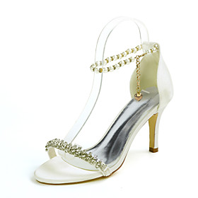 Women's Wedding Shoes Stiletto Heel Open Toe Classic Sexy Wedding Party  Evening Rhinestone Pearl Solid Colored Satin White / Black / Purple